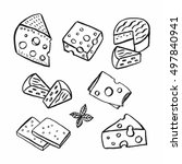 cheese hand drawn set. vector... | Shutterstock .eps vector #497840941