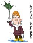 depressed wet man holding a... | Shutterstock .eps vector #497840989