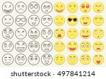 set of outline and colorful... | Shutterstock .eps vector #497841214
