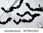 halloween with black bats and a ...   Shutterstock . vector #497841301