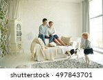 happy family with pet in bright ... | Shutterstock . vector #497843701