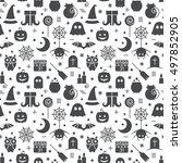 seamless halloween monochrome... | Shutterstock .eps vector #497852905