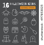 halloween linear icons set with ... | Shutterstock .eps vector #497853025