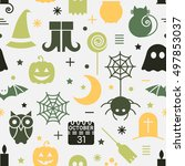 seamless halloween colorful...   Shutterstock .eps vector #497853037