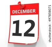 December 12. Calendar On White...