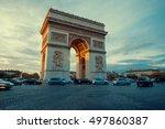 triumphal arch. paris. france.... | Shutterstock . vector #497860387
