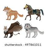 fantastic battle riding animals ... | Shutterstock .eps vector #497861011