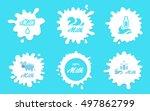 milk splashes vector labels or...   Shutterstock .eps vector #497862799