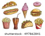fast food icons set. isolated... | Shutterstock .eps vector #497862841