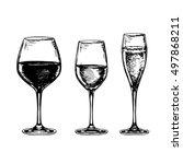 sketch set of wineglasses.... | Shutterstock .eps vector #497868211