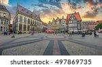 historic bremen market square... | Shutterstock . vector #497869735