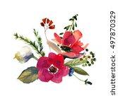 watercolor floral bouquet pose... | Shutterstock . vector #497870329