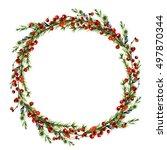 watercolor berries wreath ... | Shutterstock . vector #497870344