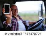 senior truck driver showing... | Shutterstock . vector #497870704
