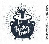 hand drawn halloween label with ... | Shutterstock .eps vector #497871097