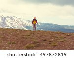 hiking man in canadian... | Shutterstock . vector #497872819