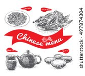 chinese menu illustration.... | Shutterstock .eps vector #497874304