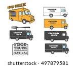food truck set. logo  emblems ... | Shutterstock .eps vector #497879581