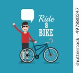 bike and cyclist icons image  | Shutterstock .eps vector #497880247