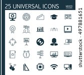 set of 25 universal icons on... | Shutterstock .eps vector #497881651