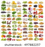 vegetable and grians on white... | Shutterstock . vector #497882257