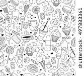 cartoon hand drawn seamless... | Shutterstock .eps vector #497883361