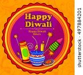 light festival of india happy... | Shutterstock .eps vector #497884201