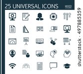 set of 25 universal icons on... | Shutterstock .eps vector #497885359