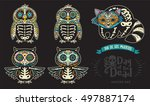 collection with sugar skull... | Shutterstock .eps vector #497887174