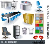vector office furniture icon set | Shutterstock .eps vector #49788778