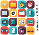 flat icons design modern vector ... | Shutterstock .eps vector #497892121