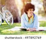 young woman using tablet in the ... | Shutterstock . vector #497892769