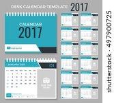 desk calendar template for 2017 ...   Shutterstock .eps vector #497900725