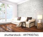 modern bright interior . 3d... | Shutterstock . vector #497900761
