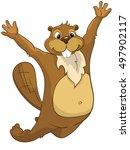 cartoon character beaver....   Shutterstock . vector #497902117