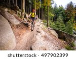 mountain biker riding on bike... | Shutterstock . vector #497902399