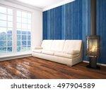 modern bright interior . 3d... | Shutterstock . vector #497904589