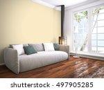 modern bright interior . 3d... | Shutterstock . vector #497905285