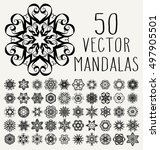set of ornate lacy doodle... | Shutterstock .eps vector #497905501