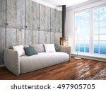 modern bright interior . 3d... | Shutterstock . vector #497905705