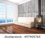 modern bright interior . 3d... | Shutterstock . vector #497905765