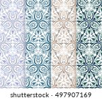 set of 4 ethnic seamless... | Shutterstock .eps vector #497907169
