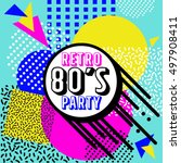80's retro elements colorful ... | Shutterstock .eps vector #497908411
