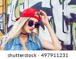 beautiful young blonde girl... | Shutterstock . vector #497911231