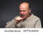 elderly man is ill from colds... | Shutterstock . vector #497914045