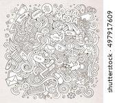 cartoon cute doodles hand drawn ... | Shutterstock .eps vector #497917609