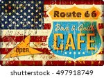 route sixty six cafe sign ... | Shutterstock .eps vector #497918749