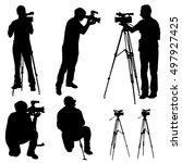 cameraman with  video camera.... | Shutterstock .eps vector #497927425