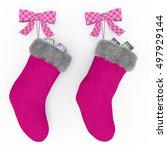 Pink Christmas Stockings On The ...