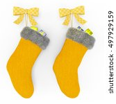 yellow christmas stockings on... | Shutterstock . vector #497929159
